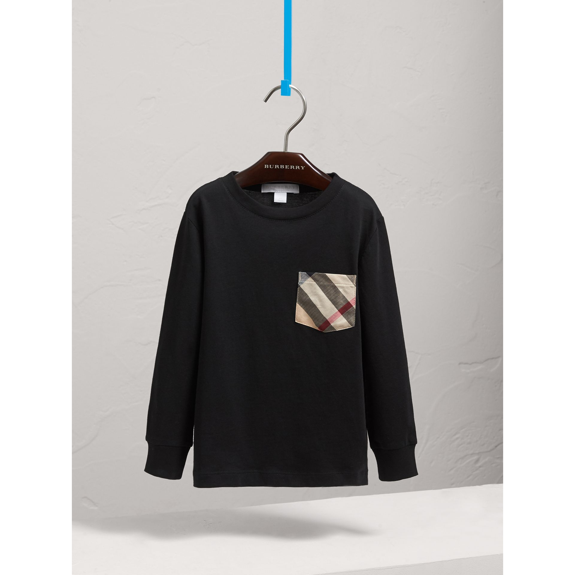 Long-sleeve Check Pocket Cotton T-shirt in Black - Boy | Burberry - gallery image 0