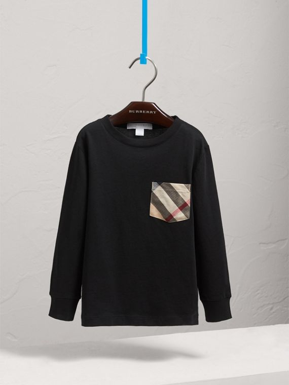 Long-sleeve Check Pocket Cotton T-shirt in Black