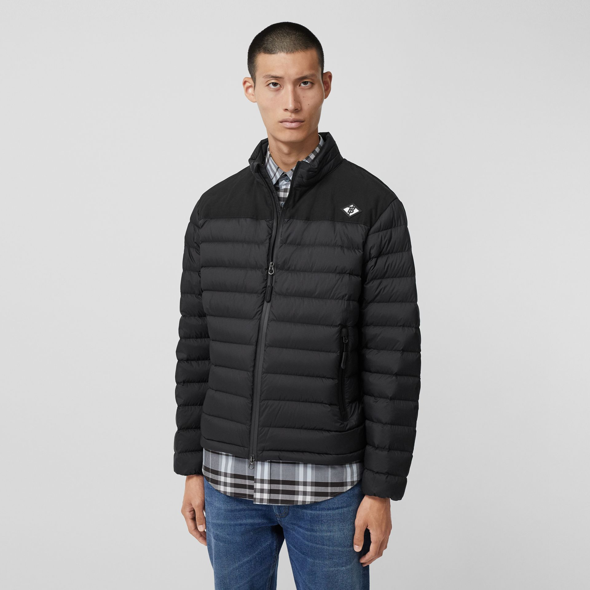Logo Graphic Lightweight Puffer Jacket in Black - Men | Burberry - gallery image 4