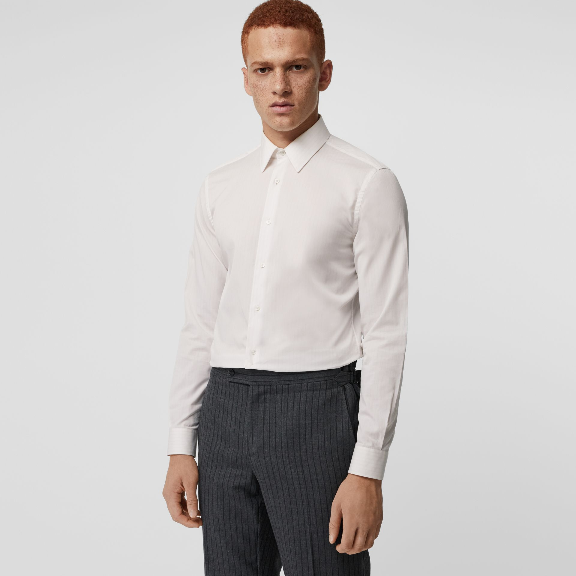 Slim Fit Striped Cotton Poplin Dress Shirt in City Pink - Men | Burberry - gallery image 0