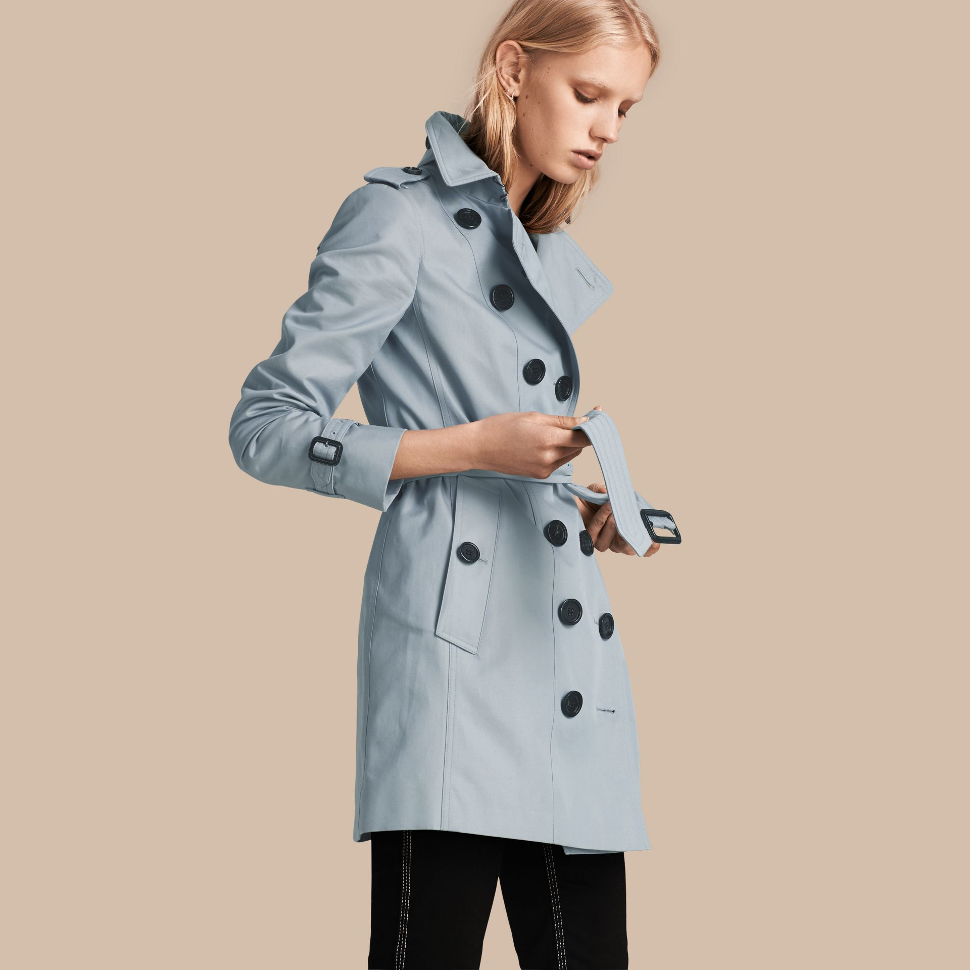 Pale sky blue Cotton Gabardine Trench Coat Pale Sky Blue - gallery image 1