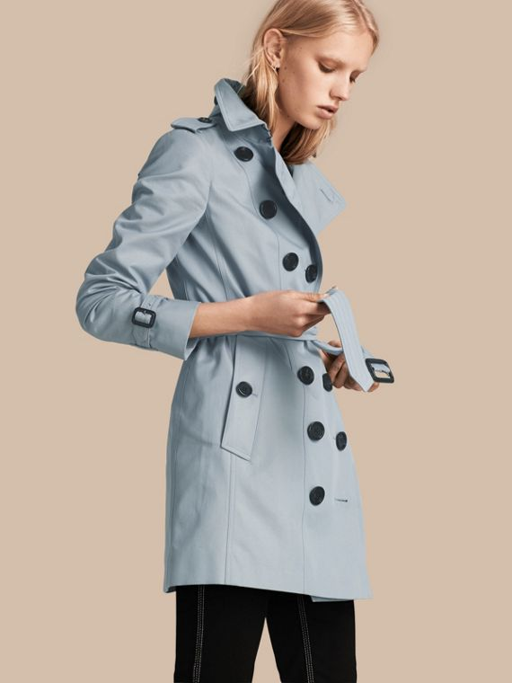 Cotton Gabardine Trench Coat Pale Sky Blue