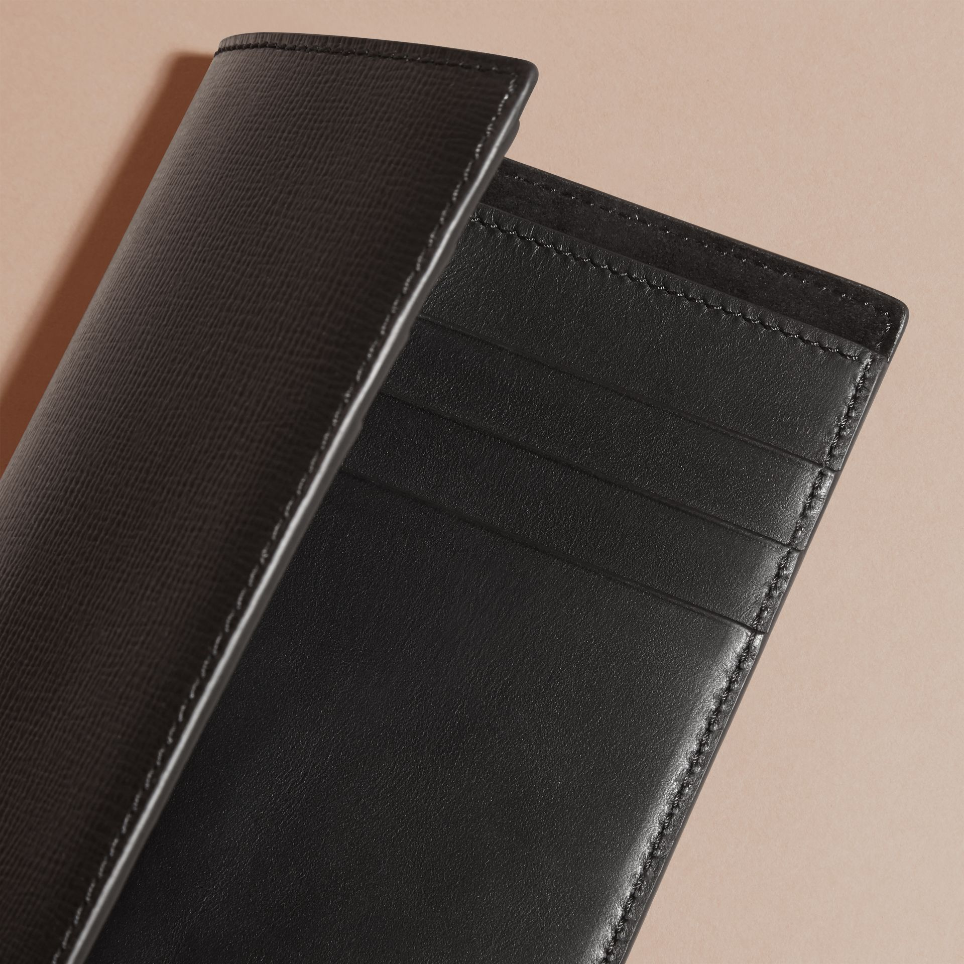 London Leather Passport and Card Holder in Black - Men | Burberry - gallery image 4