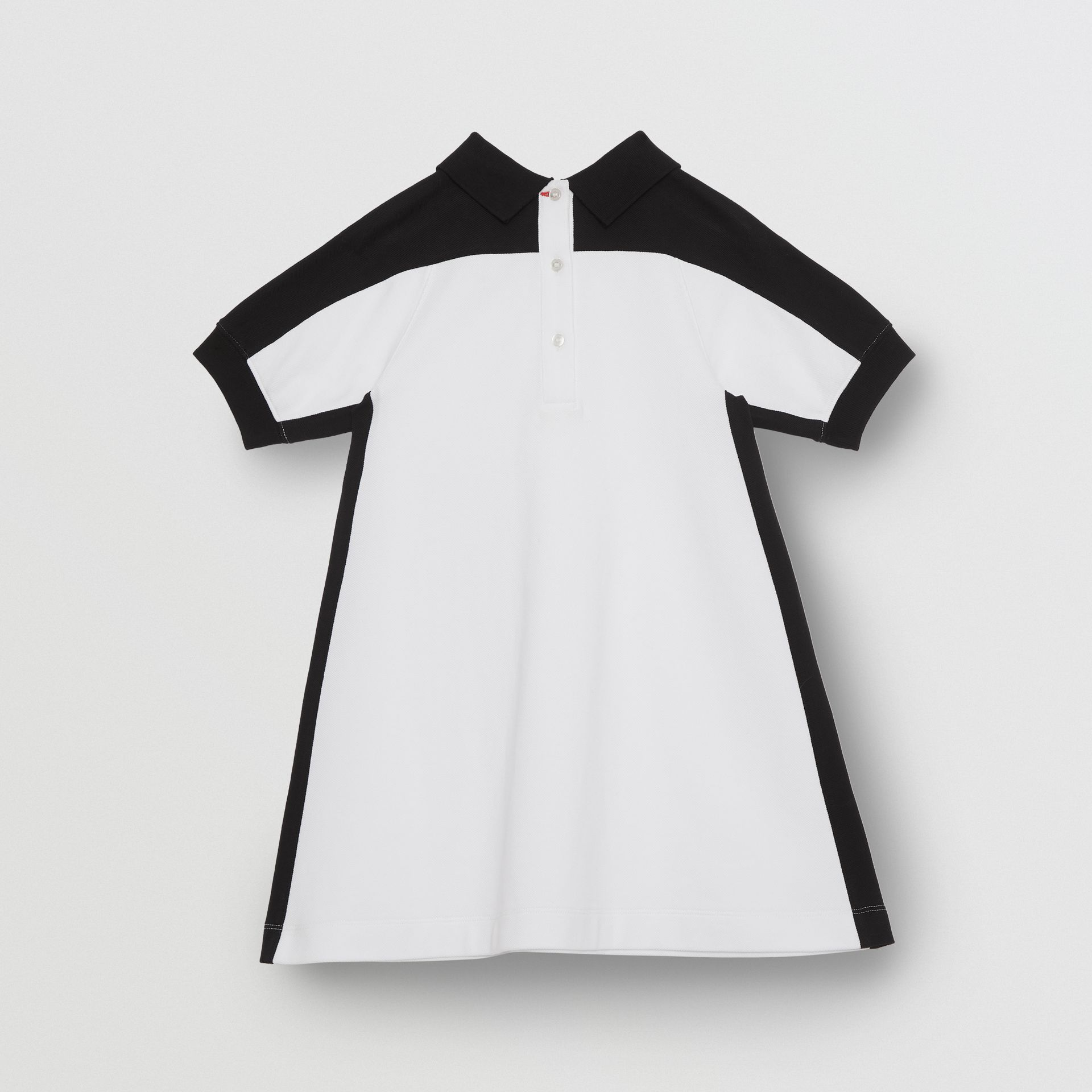 Embossed Logo Cotton Piqué Polo Dress in White | Burberry - gallery image 3