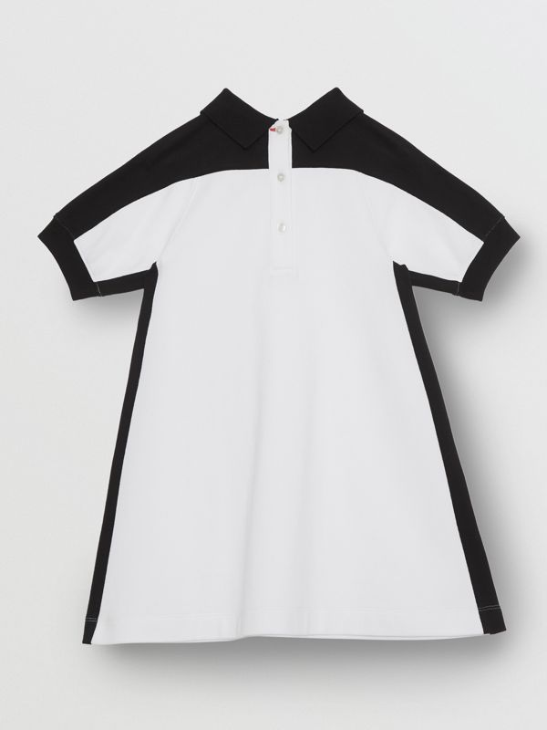 Embossed Logo Cotton Piqué Polo Dress in White | Burberry Australia - cell image 3
