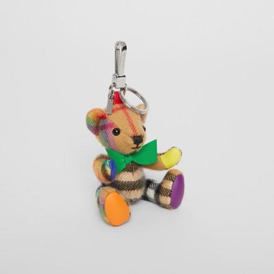 Thomas Bear Charm In Rainbow Vintage Check Cashmere in Multi Antiq