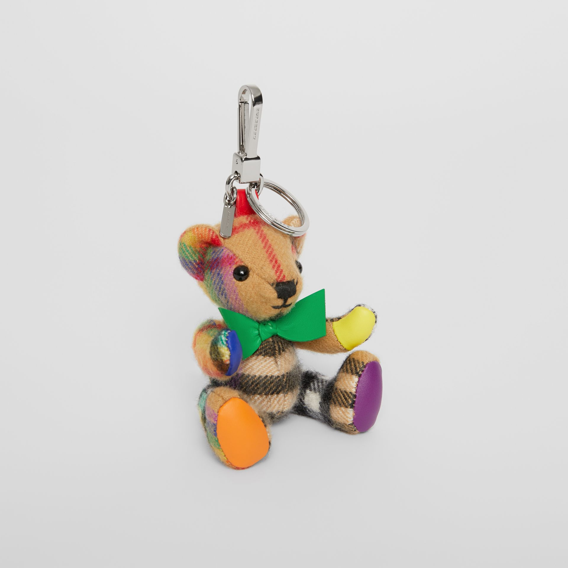 Thomas Bear Charm in Rainbow Vintage Check Cashmere in Multicolour/ Antique Yellow | Burberry - gallery image 0