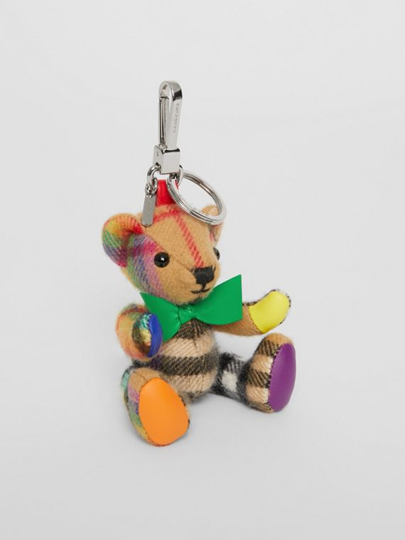 Thomas Bear Charm in Rainbow Vintage Check Cashmere in Multicolour/ Antique Yellow