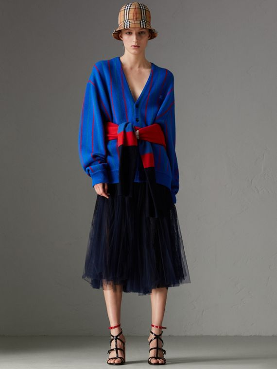 Lace Panel Pleated Tulle Skirt in Navy