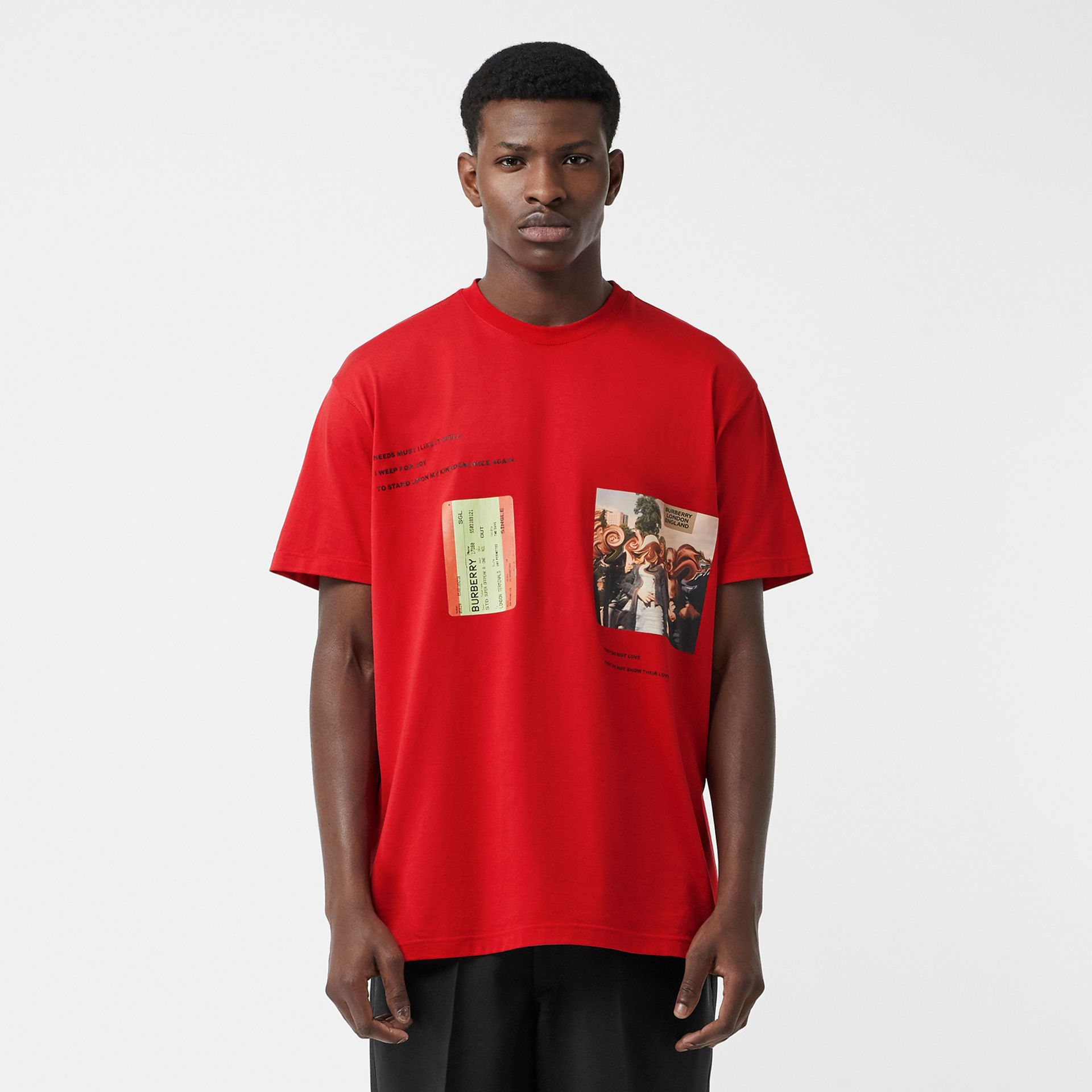 Montage Print Cotton Oversized T-shirt in Bright Red | Burberry - gallery image 0