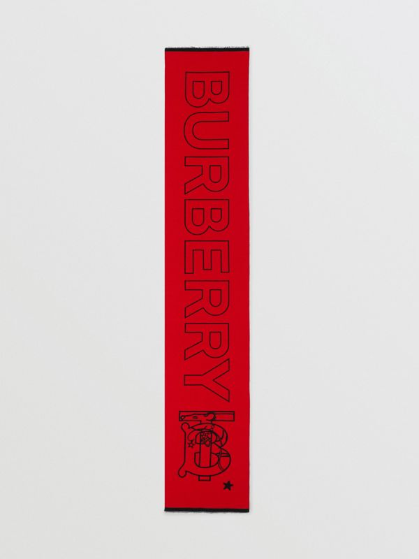 Logo and Monogram Motif Wool Silk Jacquard Scarf in Bright Red | Burberry United States - cell image 3