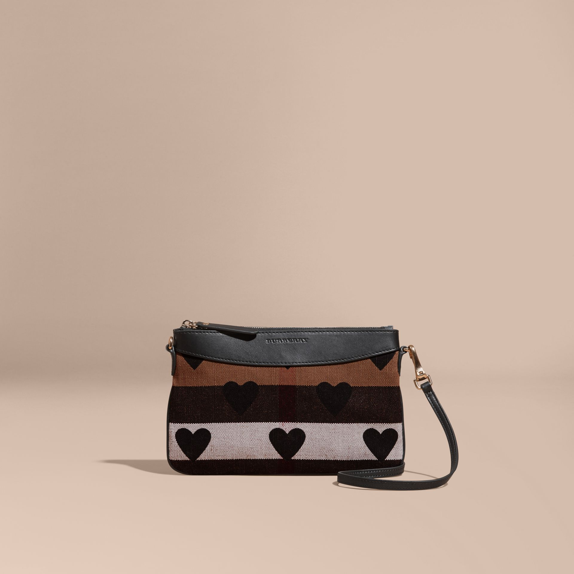 Black Heart Print Canvas Check Clutch Bag Black - gallery image 9