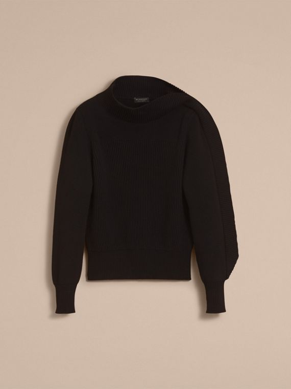 Asymmetric Rib Knit Wool Cashmere Sweater - cell image 3