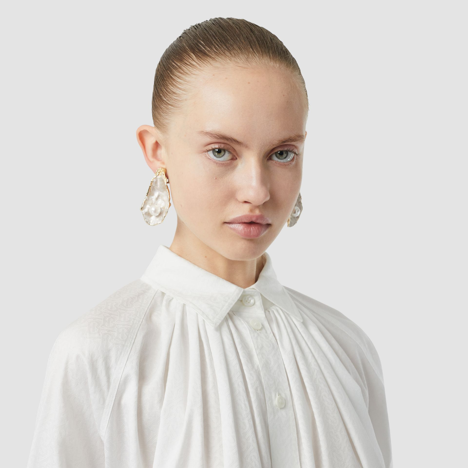Monogram Cotton Jacquard Oversized Shirt in Optic White - Women | Burberry - gallery image 1