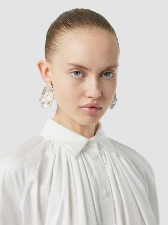 Camisa oversize de algodão com monograma em jacquard (Branco Óptico)