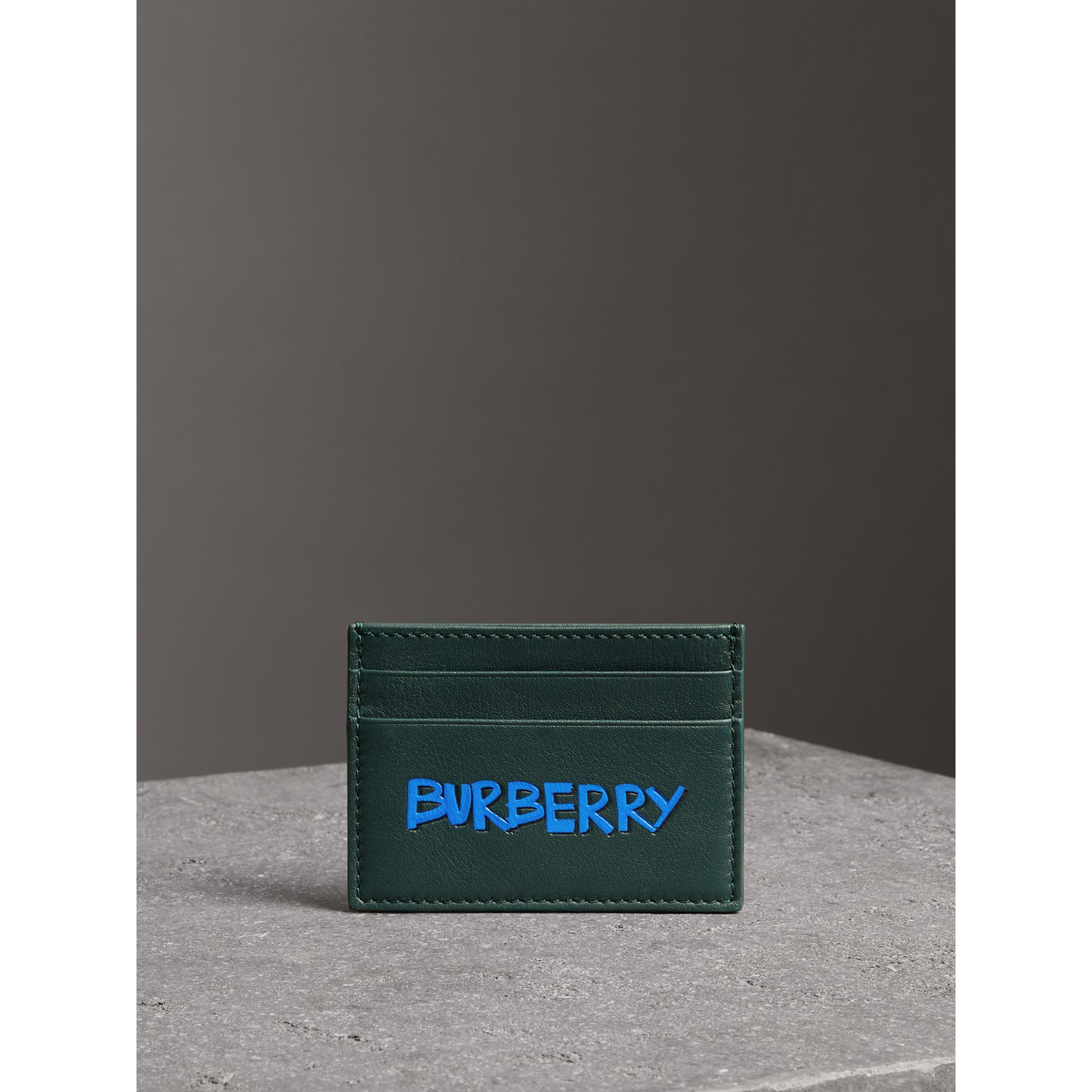 Graffiti Print Leather Card Case in Deep Bottle Green | Burberry - gallery image 4