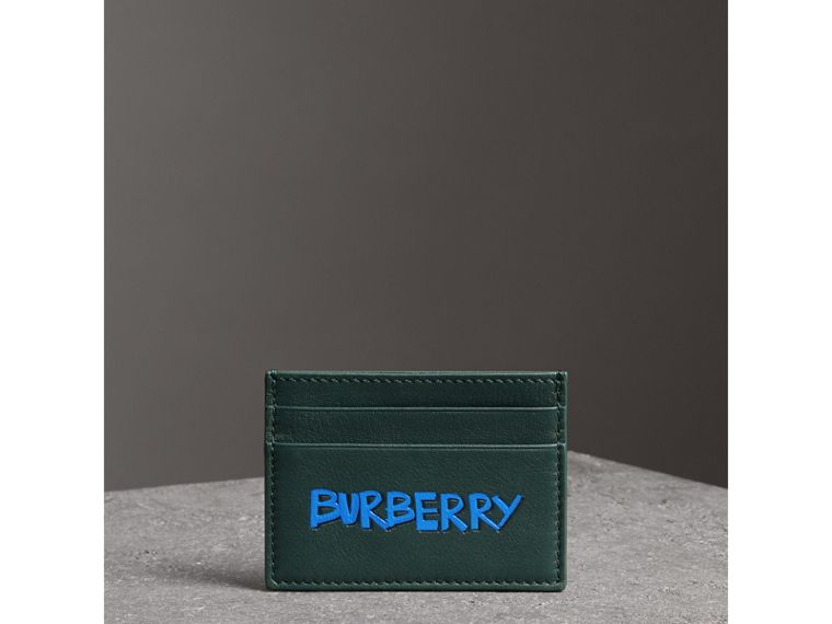 Graffiti Print Leather Card Case in Deep Bottle Green | Burberry - cell image 4