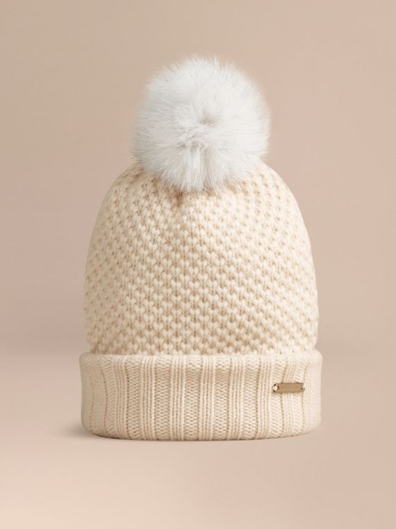 Fur Pom-Pom Beanie in Ivory - Women | Burberry Singapore