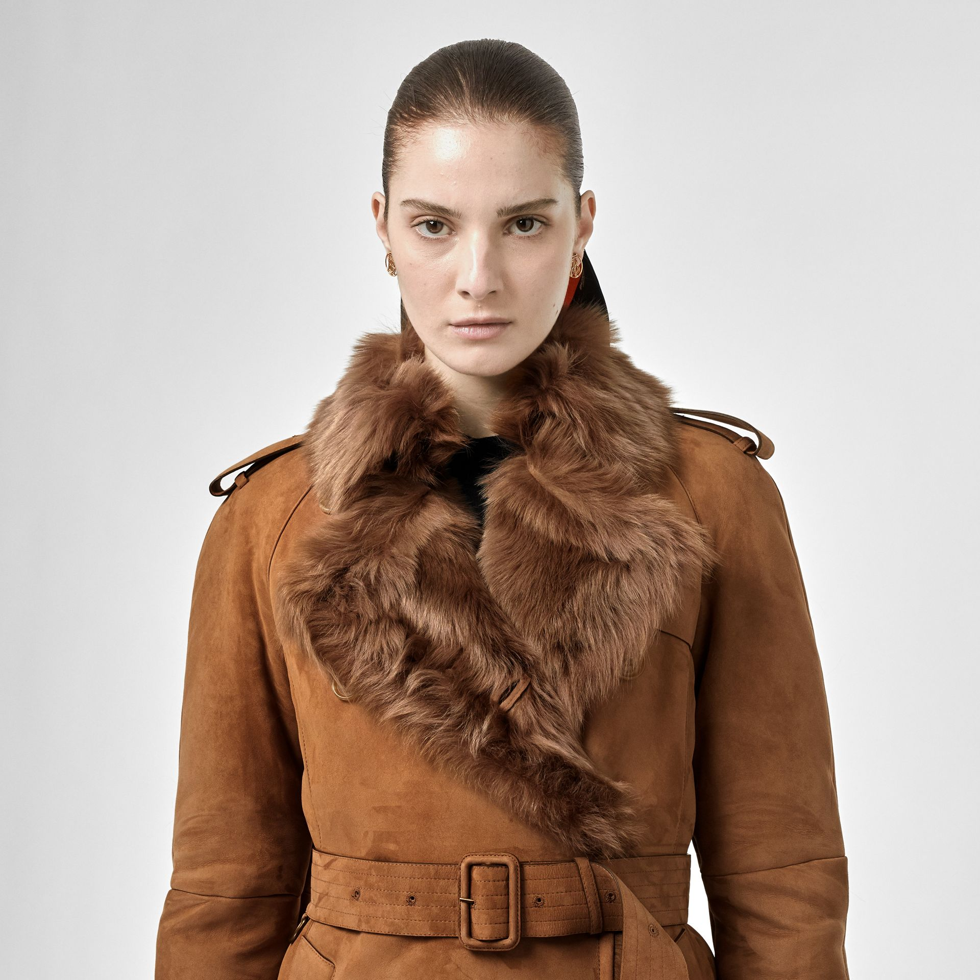 Shearling Trench Coat in Dark Camel - Women | Burberry Canada - gallery image 1