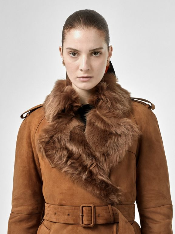Shearling Trench Coat in Dark Camel - Women | Burberry - cell image 1