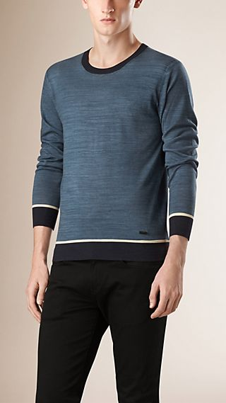 Contrast Trim Wool Silk Sweater
