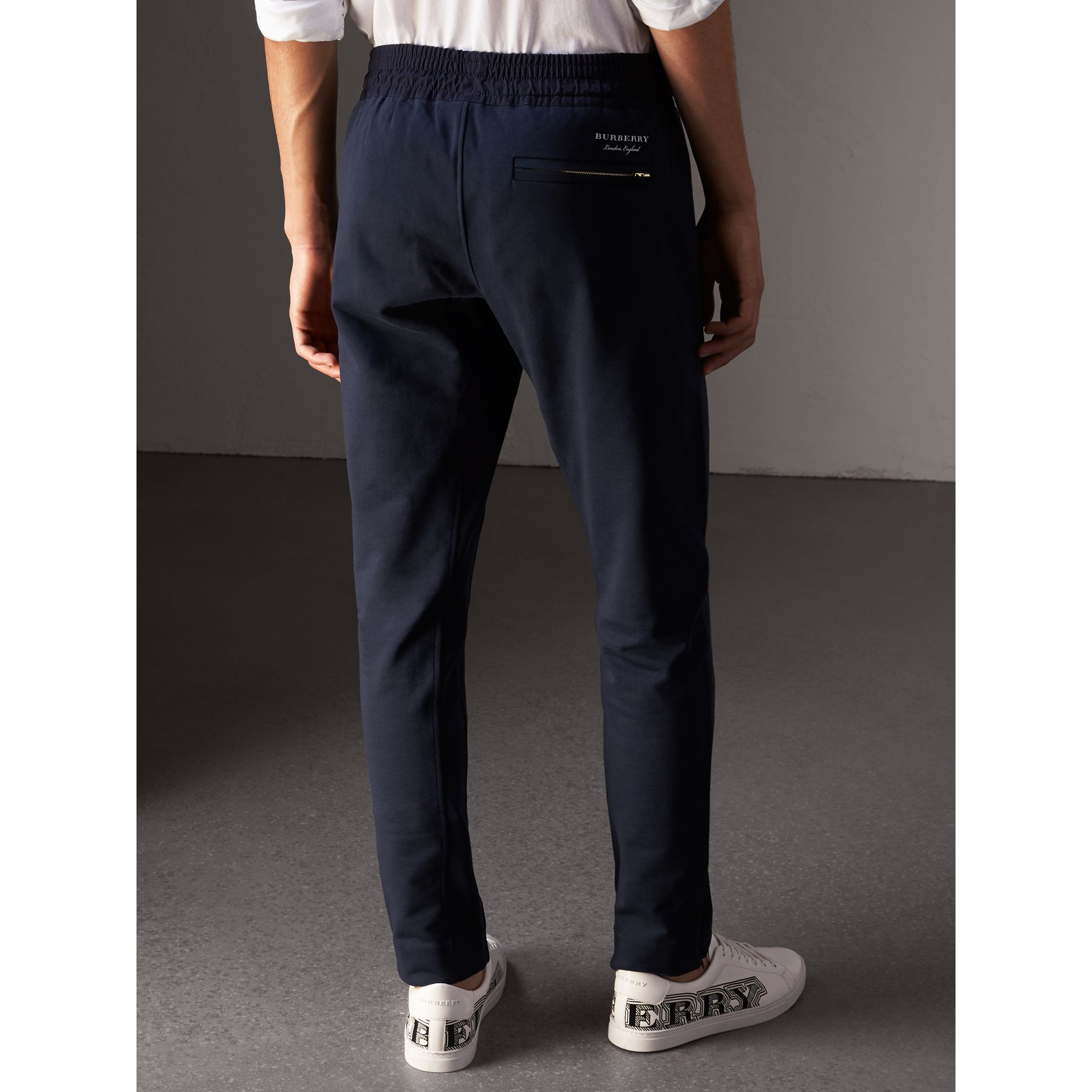 Cotton Sweatpants in Navy - Men | Burberry - gallery image 2