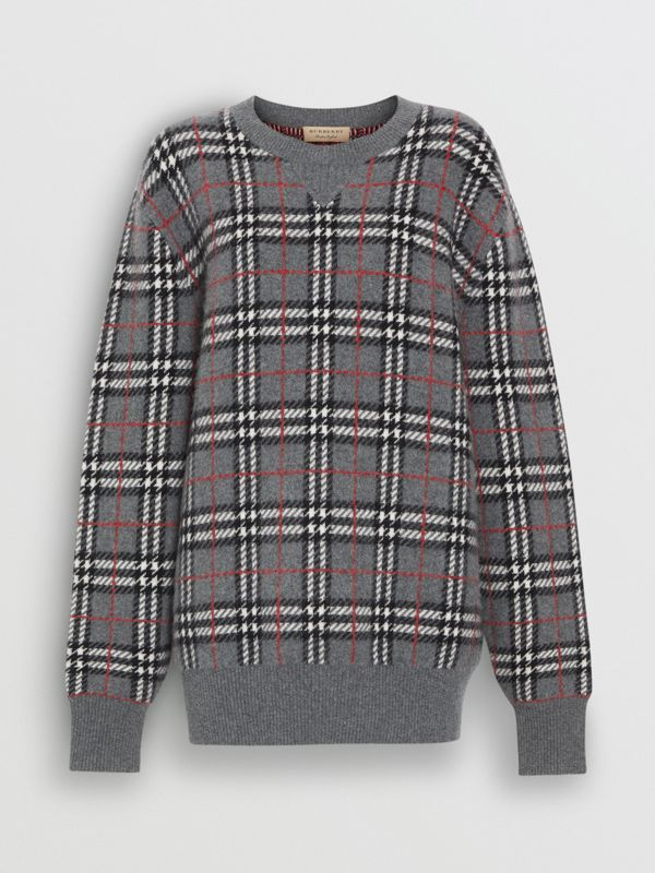 Check Cashmere Jacquard Sweater in Mid Grey Melange - Women | Burberry United Kingdom - cell image 3