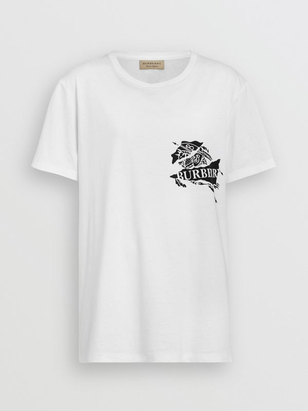 Collage Logo Print Cotton T-shirt in White - Men | Burberry - cell image 3