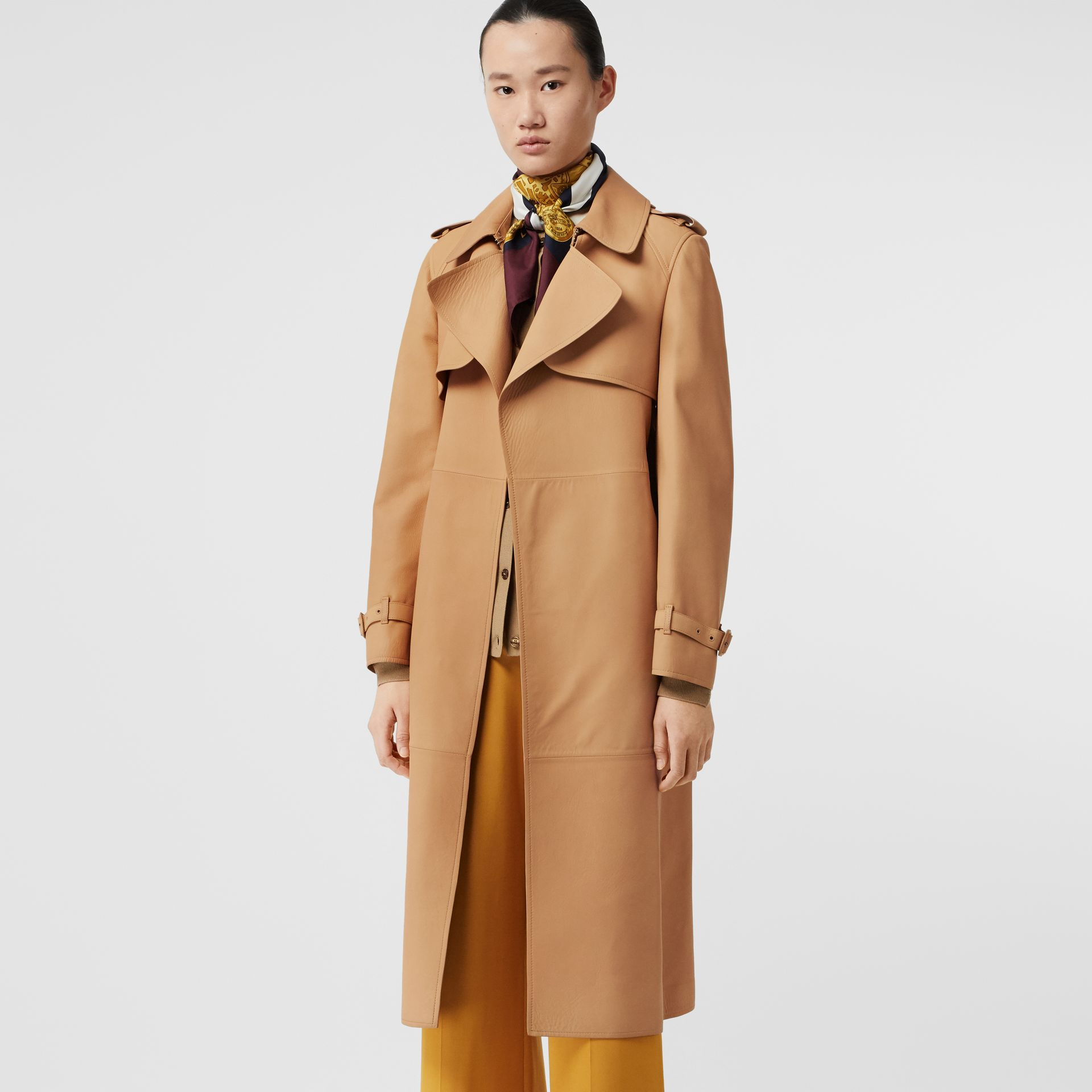 Lambskin Wrap Trench Coat in Caramel - Women | Burberry - gallery image 6
