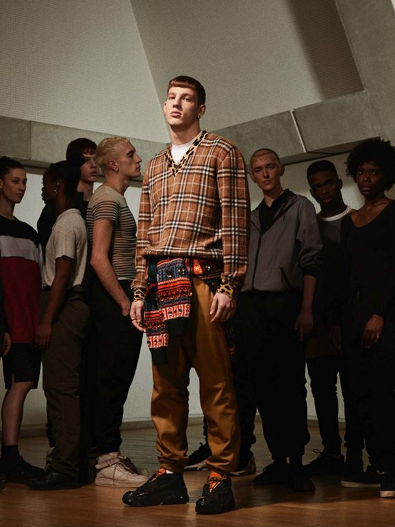 Embellished Fair Isle Mohair Wool Blend Sweater in Bright Orange - Men | Burberry Australia - cell image 1