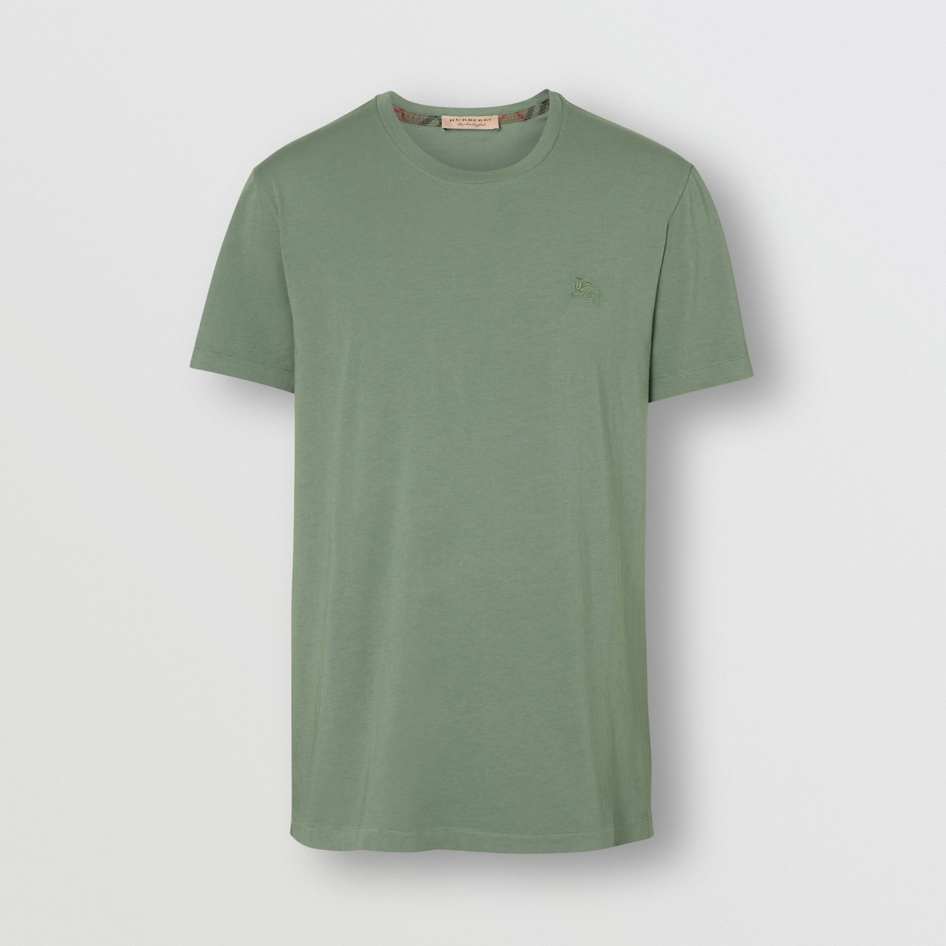 Cotton T-shirt in Clay Green - Men | Burberry Hong Kong - gallery image 3