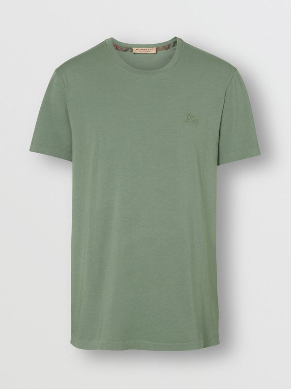 Cotton T-shirt in Clay Green - Men | Burberry Hong Kong - cell image 3