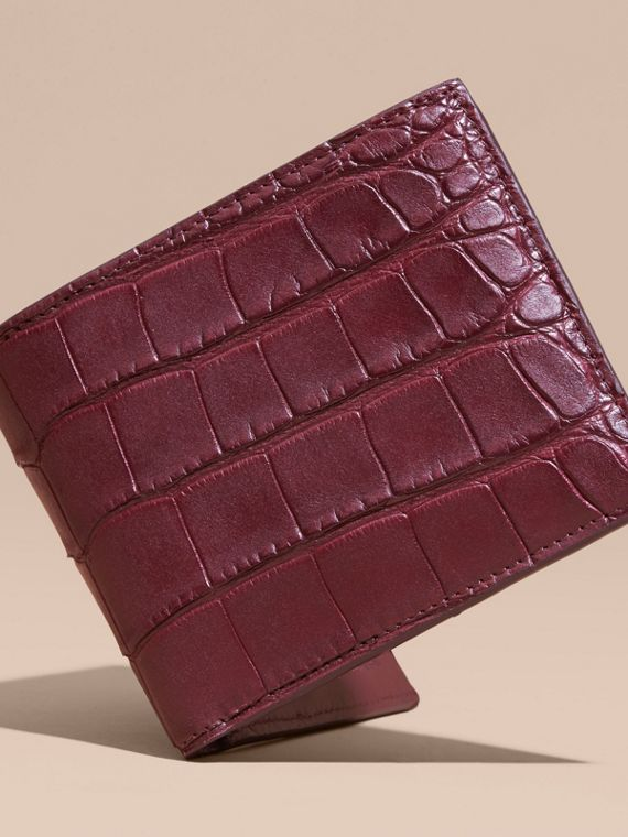 Deep claret Alligator and Leather Folding Wallet - cell image 2