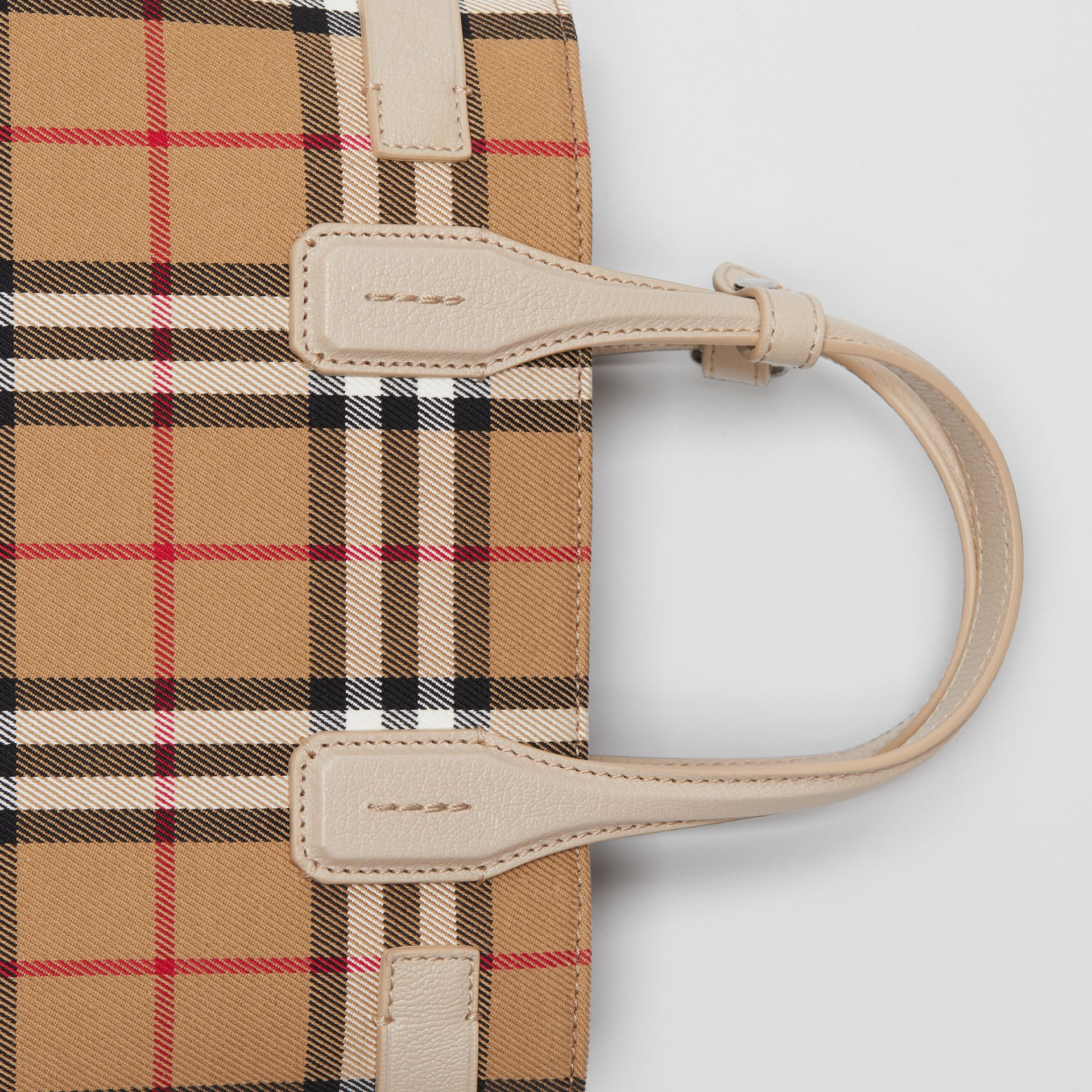 The Small Banner in Vintage Check and Leather in Limestone - Women | Burberry Australia - gallery image 1