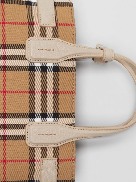 The Small Banner in Vintage Check and Leather in Limestone - Women | Burberry Hong Kong S.A.R - cell image 1
