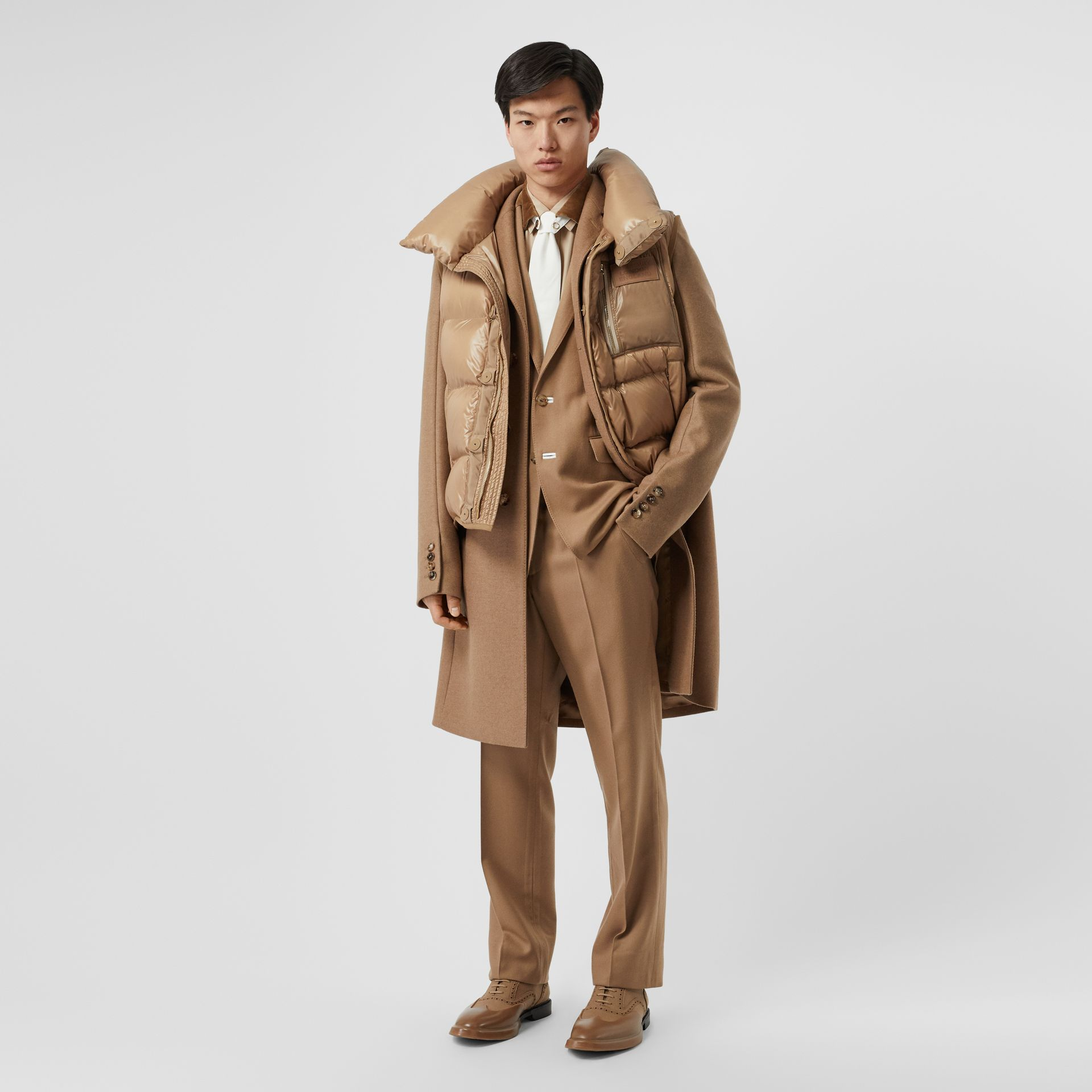 Down-filled Gilet Detail Camel Hair Tailored Coat - Men | Burberry United States - gallery image 5