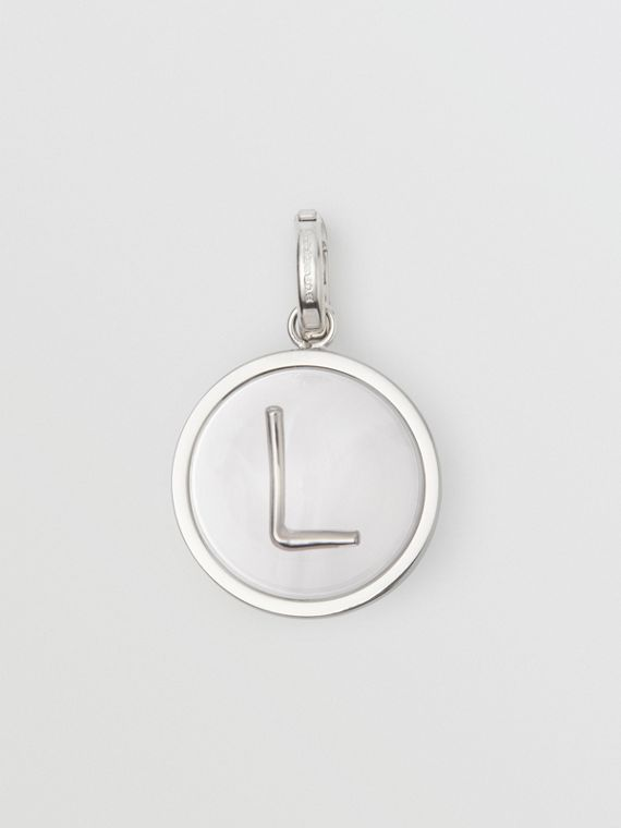 Marbled Resin 'L' Alphabet Charm in Palladio/nacre