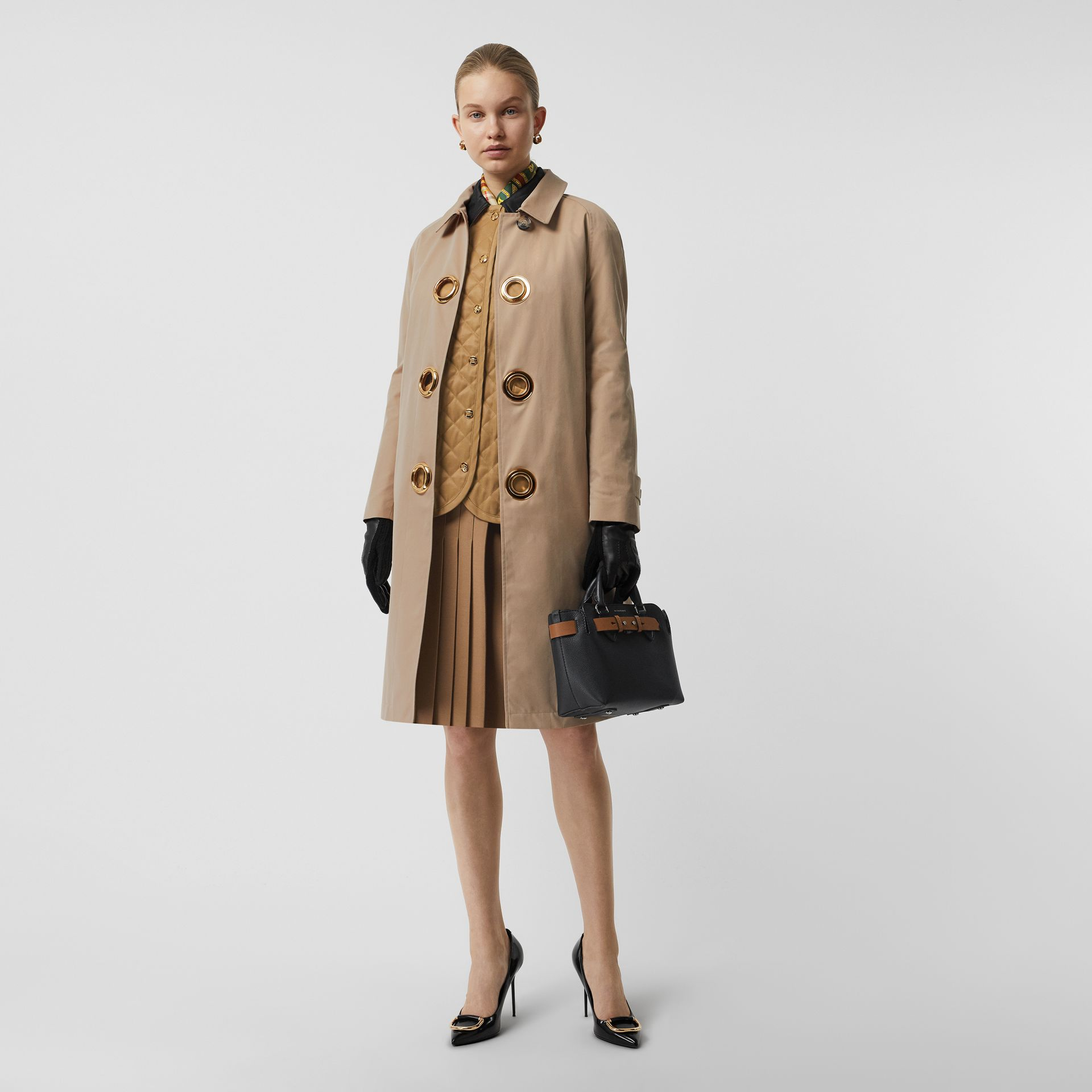 Grommet Detail Cotton Gabardine Car Coat in Honey - Women | Burberry Singapore - gallery image 0