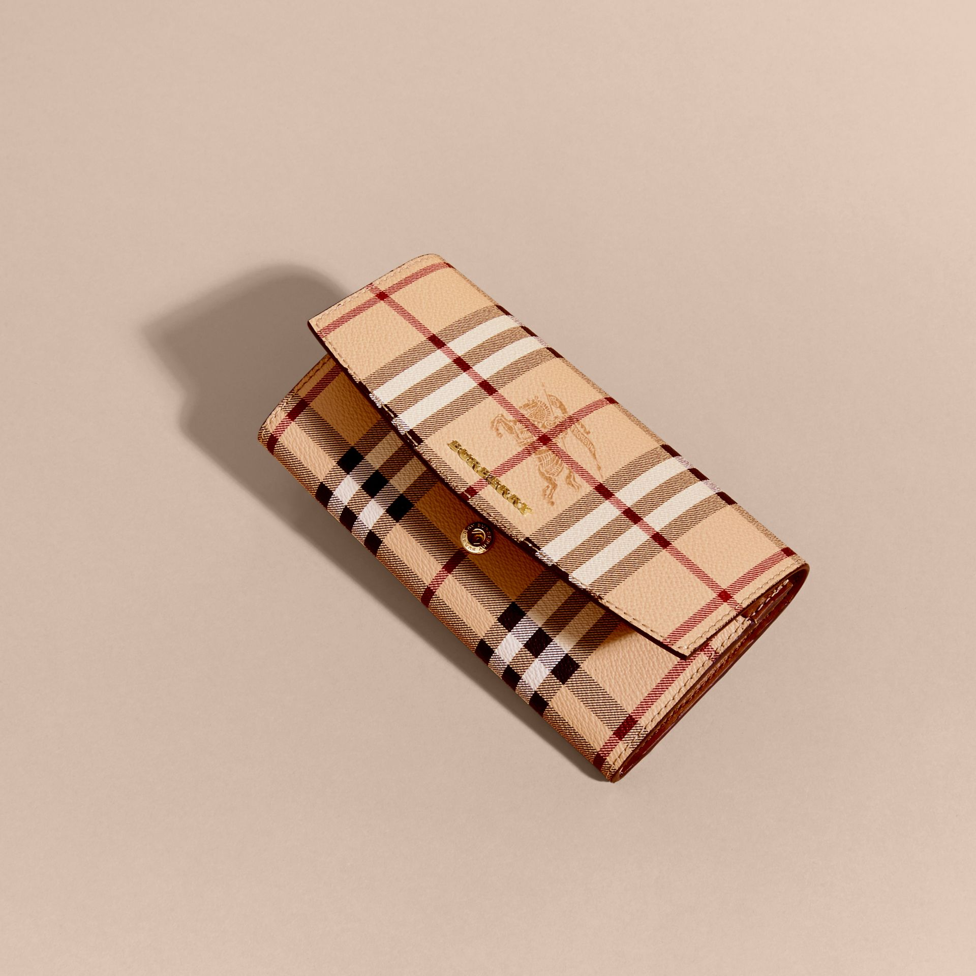 Haymarket Check and Leather Continental Wallet in Tan - Women | Burberry Canada - gallery image 3