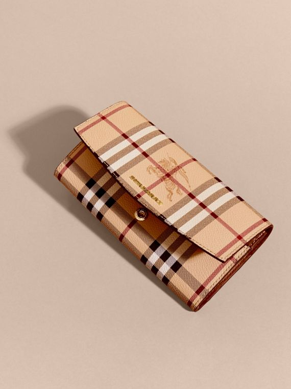 Haymarket Check and Leather Continental Wallet in Tan - Women | Burberry - cell image 2