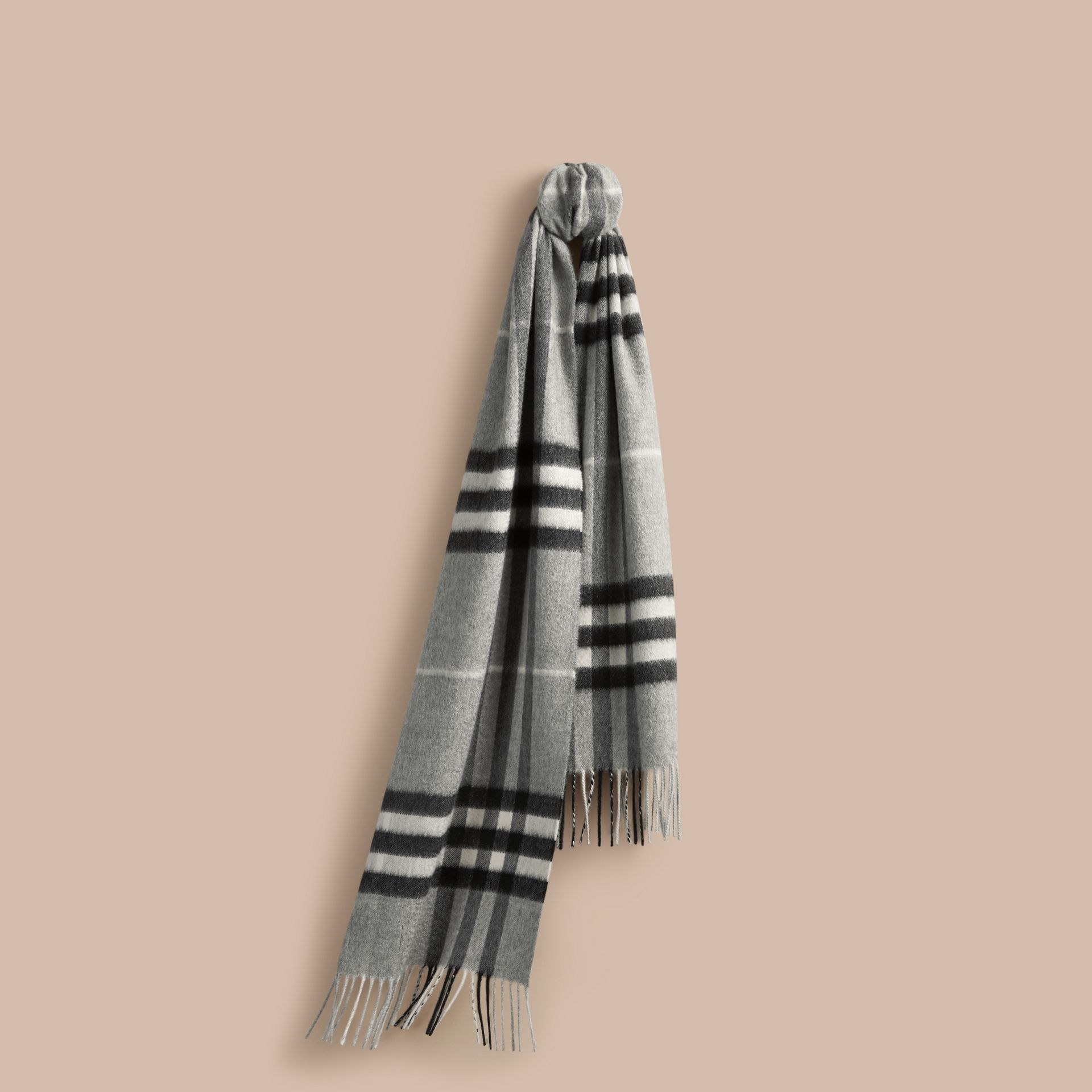 Pale grey The Classic Cashmere Scarf in Check Pale Grey - gallery image 6