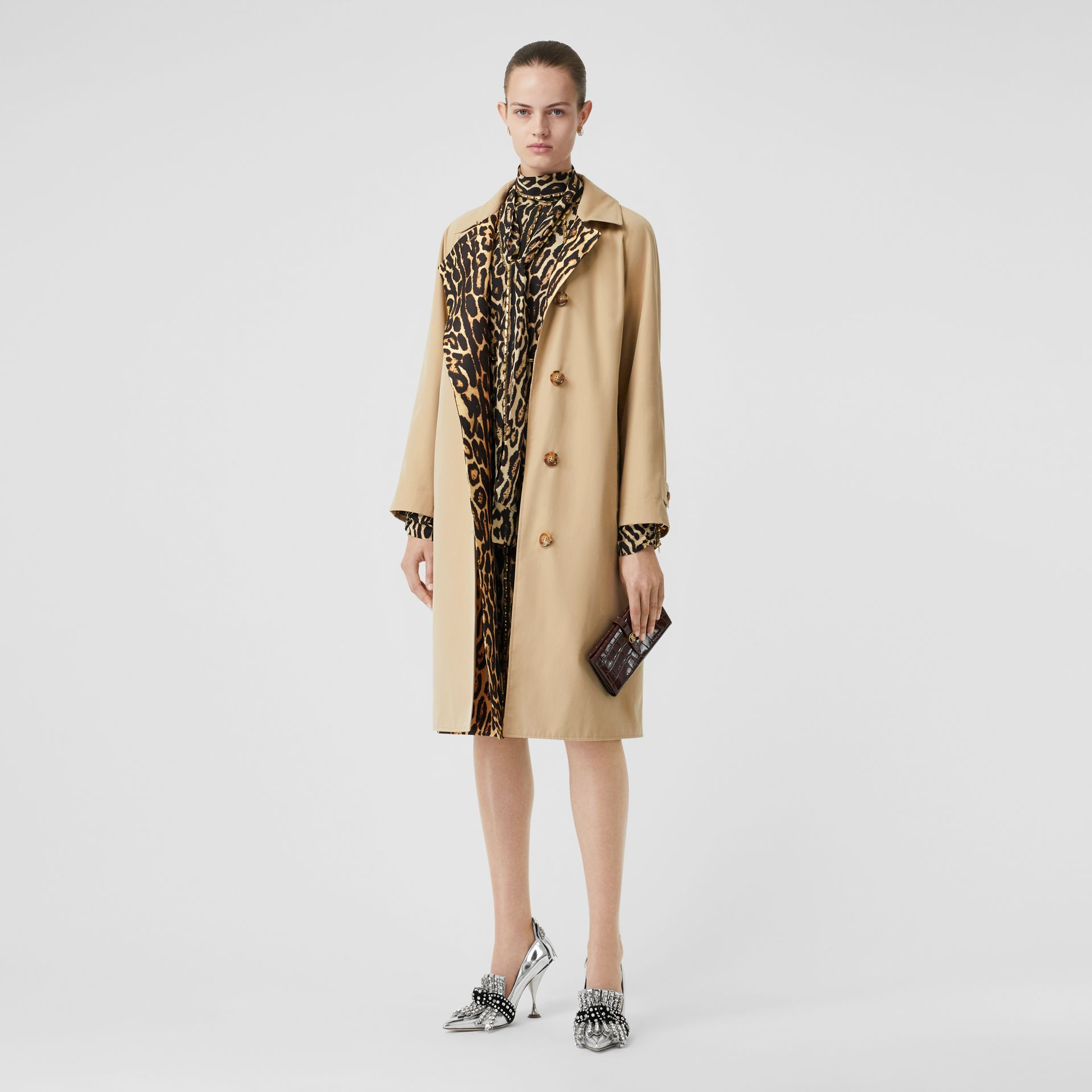 Leopard Print-lined Cotton Gabardine Car Coat in Honey - Women | Burberry Australia - gallery image 0