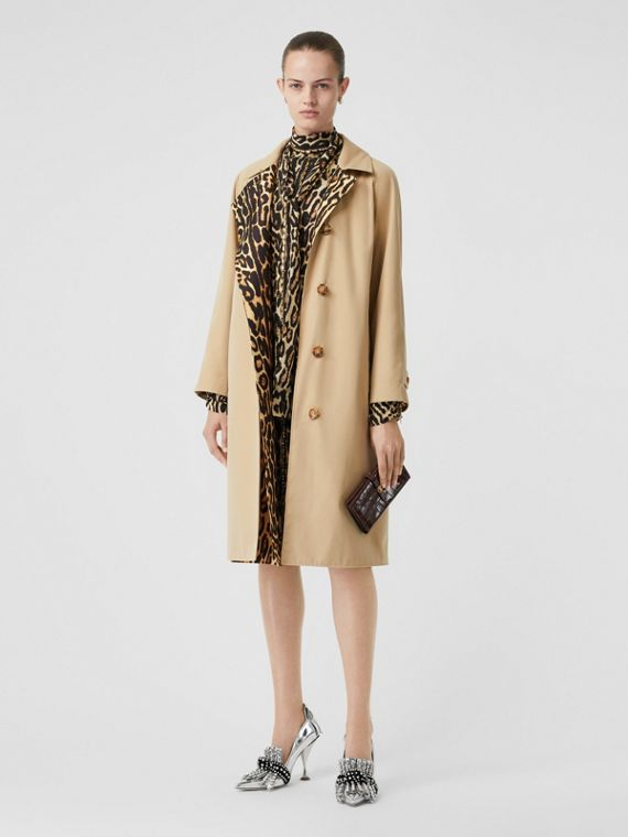 Leopard Print-lined Cotton Gabardine Car Coat in Honey