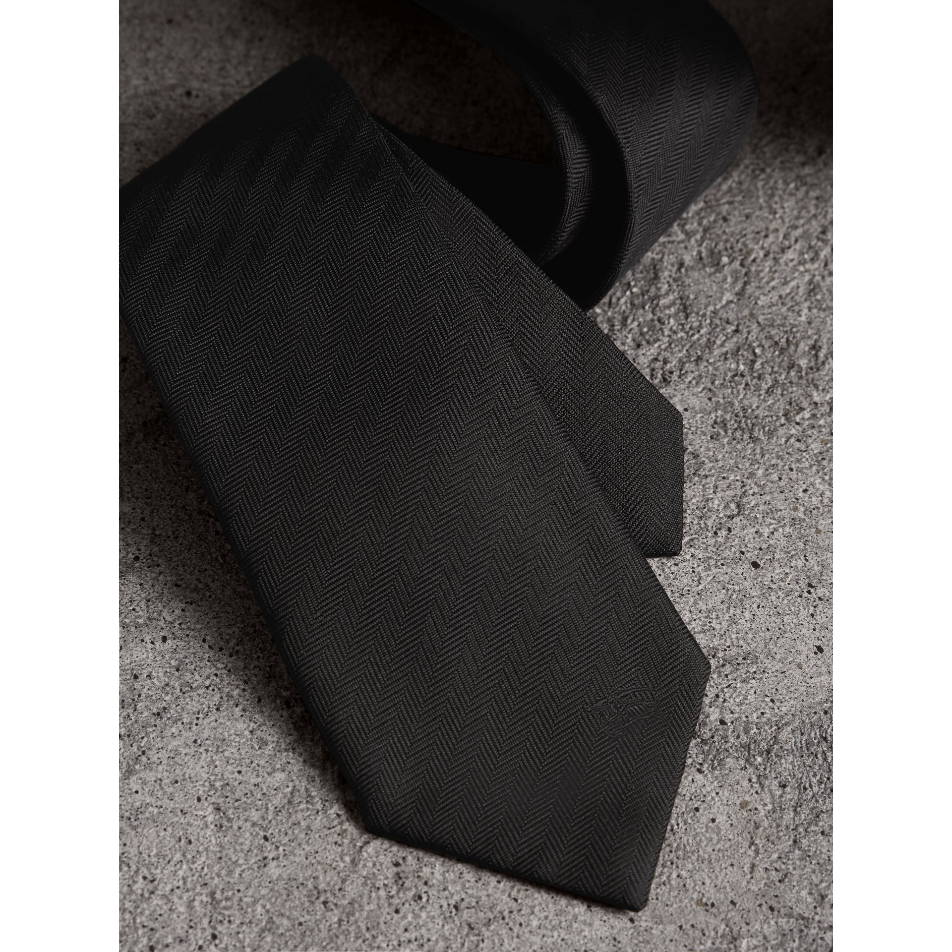Modern Cut Silk Tie in Black - Men | Burberry - gallery image 2