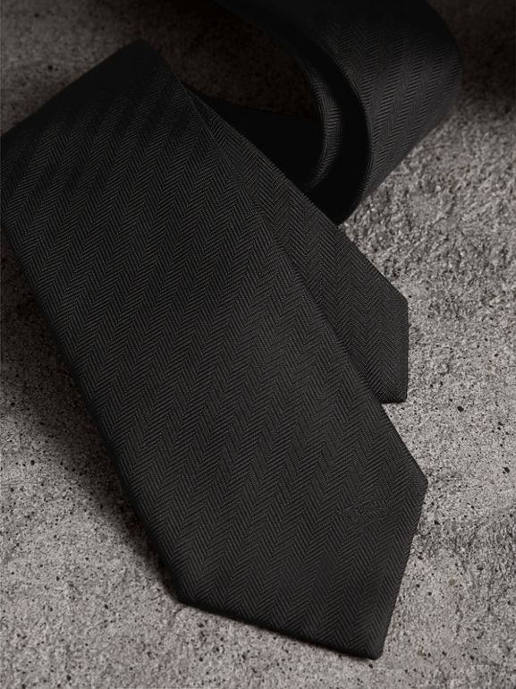 Modern Cut Silk Tie in Black - Men | Burberry - cell image 1