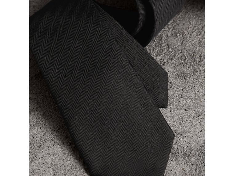 Modern Cut Silk Tie in Black - Men | Burberry Canada - cell image 1