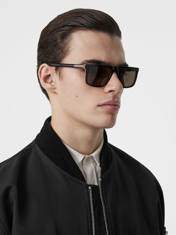 Vintage Check Detail Straight-brow Sunglasses in Antique Yellow - Men | Burberry Australia - cell image 2