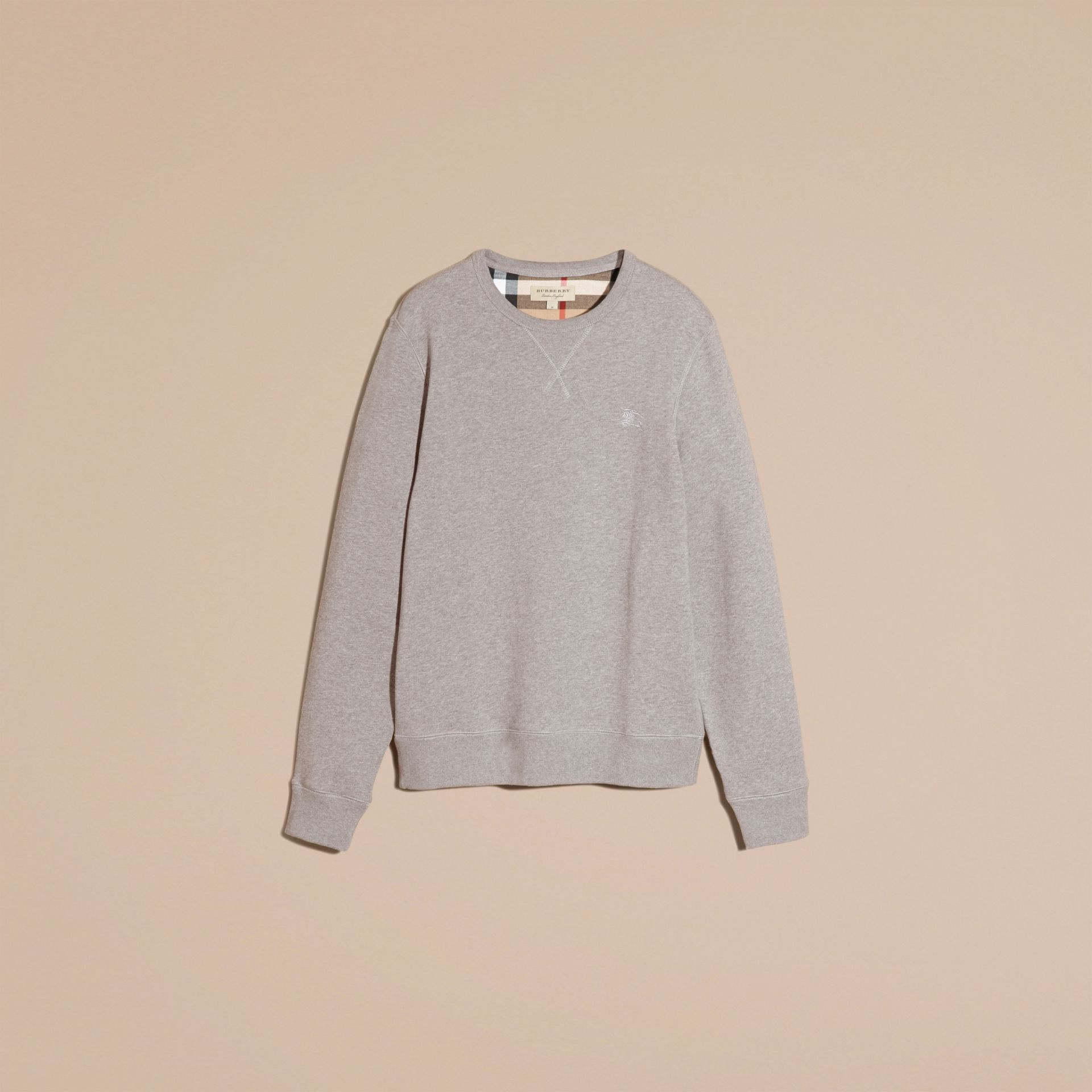 Cotton Blend Jersey Sweatshirt Pale Grey Melange - gallery image 4