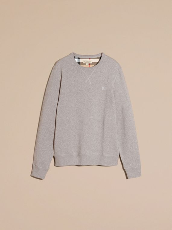Cotton Blend Jersey Sweatshirt in Pale Grey Melange - cell image 3