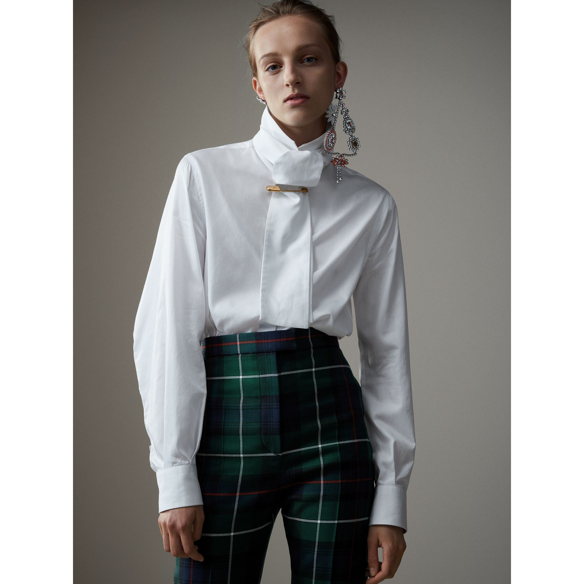 Herringbone Cotton Tie-neck Riding Shirt in White - Women | Burberry - gallery image 1